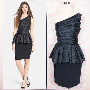 Halston Heritage Black One-Shoulder Peplum Dress